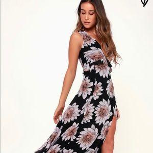 Black floral print sleeveless maxi dress